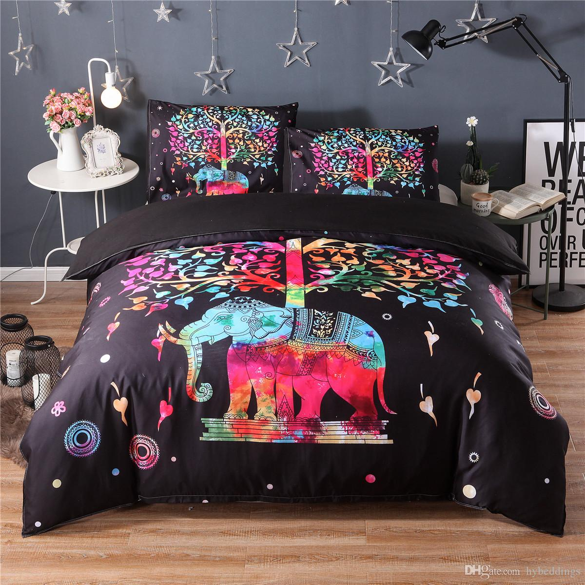 Colorful Cartoon Elephant Bedding Set Black Duvet Quilt