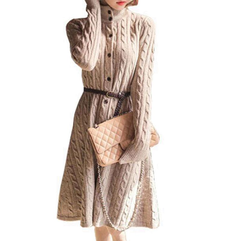 4e85675b1 2019 Wholesale Long Sweater Dress 2016 Fall Winter Fashion Plus Size Cable  Vintage Single Breasted Knee Length Belt Knitted Maxi Dress ZY2070 From  Hoto, ...