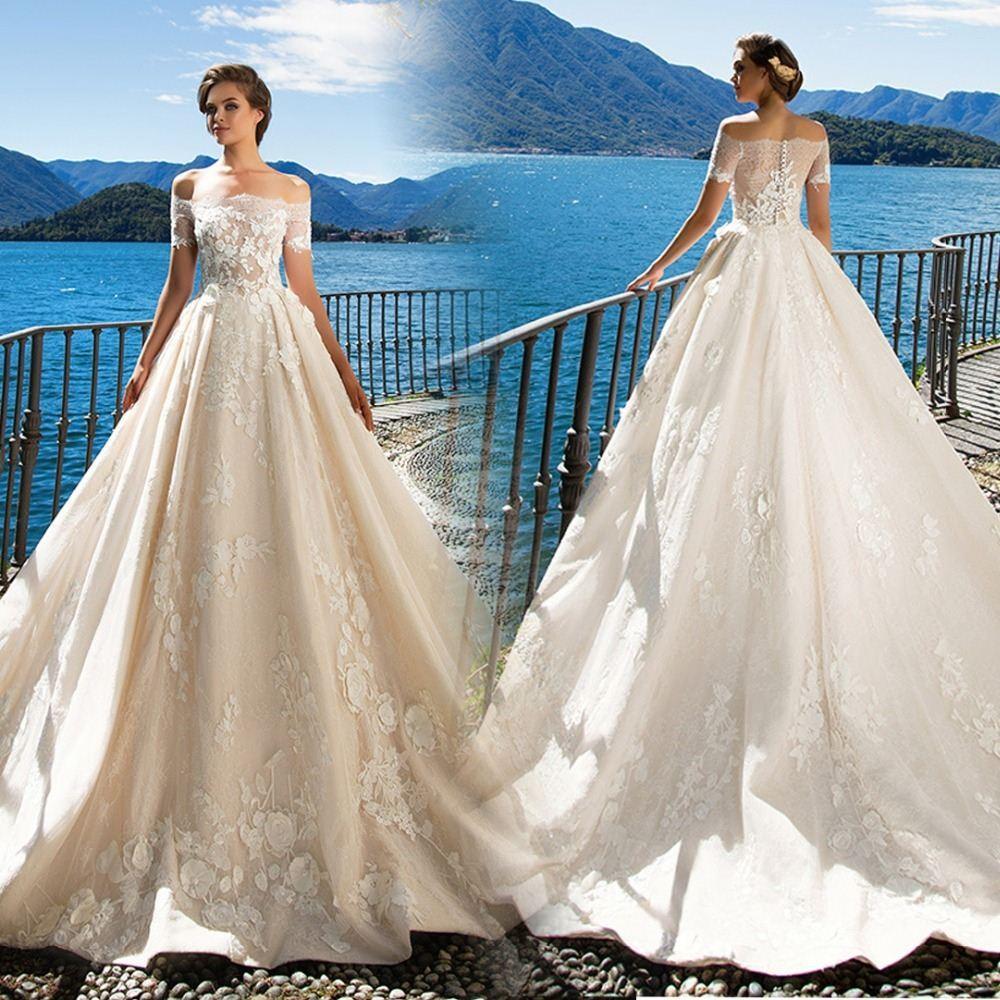 Princess Lace Wedding Dress Boat Neck Off The Shoulder Lace Applique ...