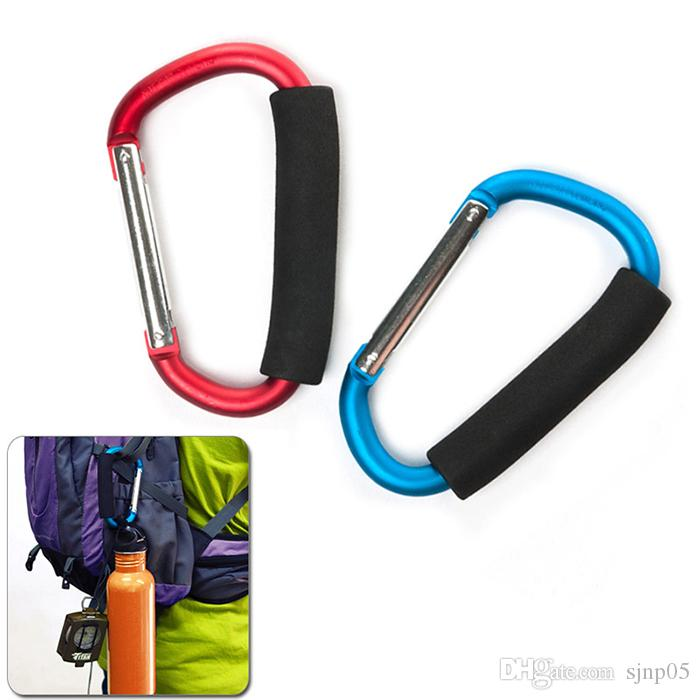 Large D Shape Aluminum Alloy Carabiner Clip High Quality Carabiner Hooks with Soft Sponge for Stroller Sundries Hanging Camping Hiking Kits