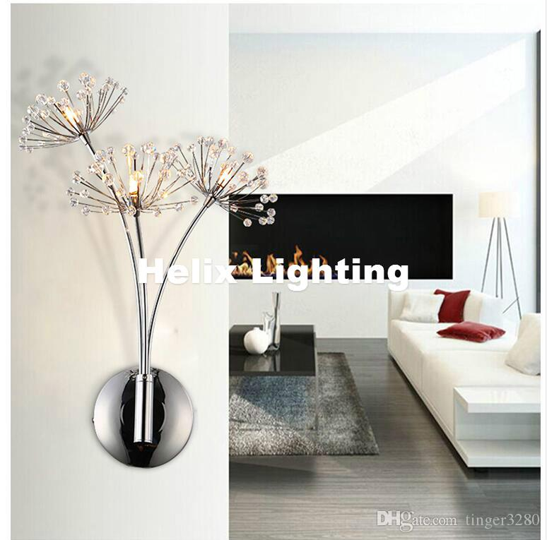 الشحن مجانا الحديثة G4 فن الديكور الفولاذ المقاوم للصدأ التصفيحات LED كريستال جدار ضوء مصباح النوم الرئيسية الجدار الشمعدان القوس الإضاءة