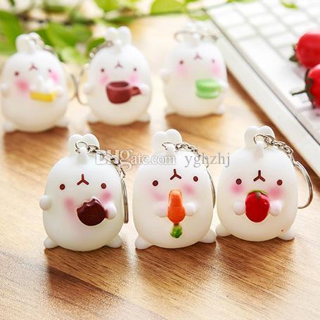 Creativo versione coreana della bella coniglio coniglio decorazione catena chiave coniglio paio di piccole ciondolo, spedizione gratuita