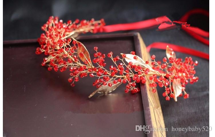 Red Crystal Wedding Bridal Hair Accessories Headband Tiaras Fashion Alloy Leaf Ribbon Headpiece Handmade Bridesmaid Jewelry Gold Party