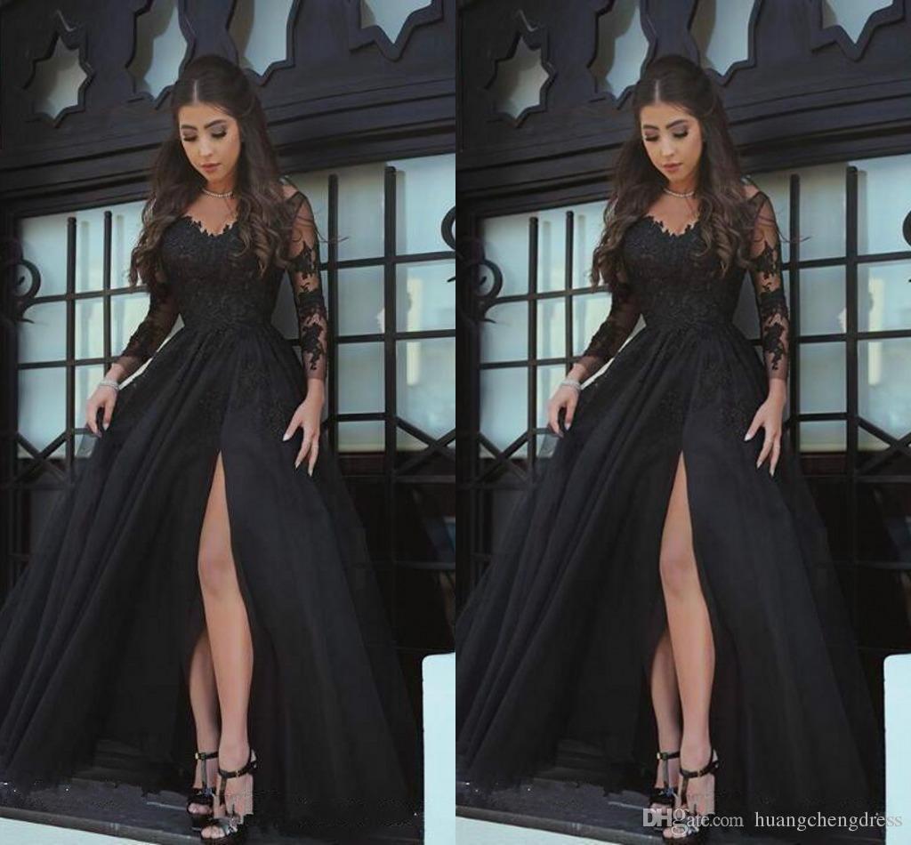 2019Modern Sheer Mangas Compridas Vestidos de Noite Preto Applique Lace Coisa-Alta Dividir Prom Vestido Custom Made Vestidos de Festa Formal