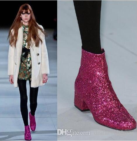 T-stage Mulheres Glitter Ankle Boots Saltos quadrados Sparkly Booties Outono Inverno Feminino Botas de Prata Vermelho Sapatos de Ouro Mulher