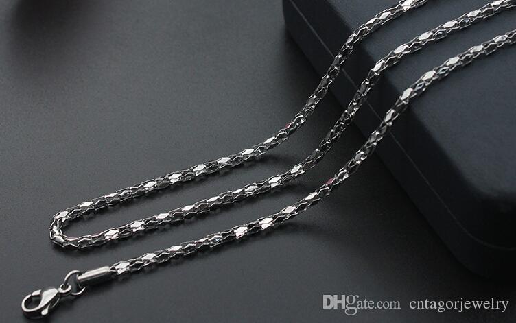 Diametro 2mm / 2.5mm / 3mm / 3.5mm / 4mm Collana con catena a specchio in acciaio inossidabile 316L con diamanti 18