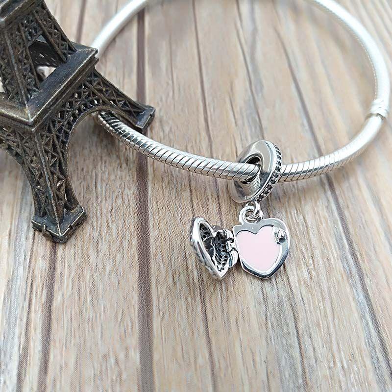 Valentinstag Geschenk 925 Sterling Silber Perlen Engelsflügel Anhänger Charme Passt europäisch Pandora Stil Schmuck Armbänder Halskette 791737cz