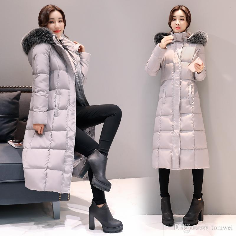 Long Down Jacket Women Winter Coats Natural Fox Fur Collar White Duck Down Parkas Hooded Thicken Warm Snow Clothes New Arrival