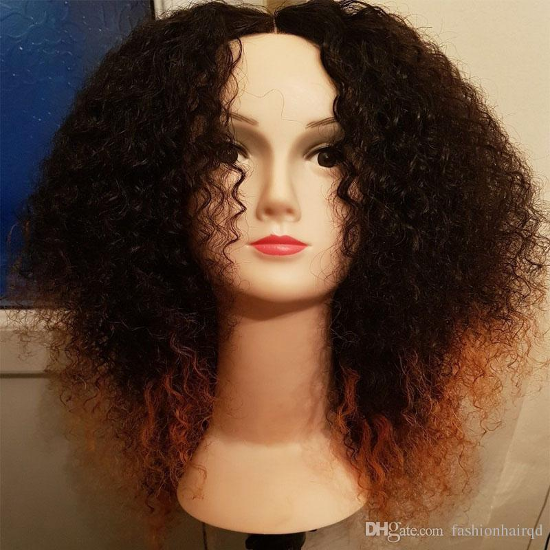 T1b 30 Ombre Lace Front Human Hair Wigs For Black Women Afro Kinky Curly Two Tone Brazilian Virgin Hair 260% High Density
