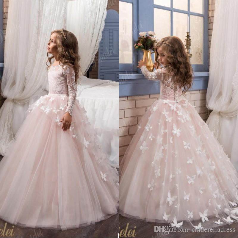 Arabic 2017 lace floral blush pink long sleeves flower girl dresses arabic 2017 lace floral blush pink long sleeves flower girl dresses for weddings 3d flowers little girls pageant gown communion dress dresses for flower mightylinksfo