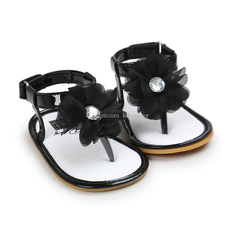 Baby Girls flower thong sandals pu soft sole toe-knob sandals infants summer cute fashion moccasins first walkers for 0-2T