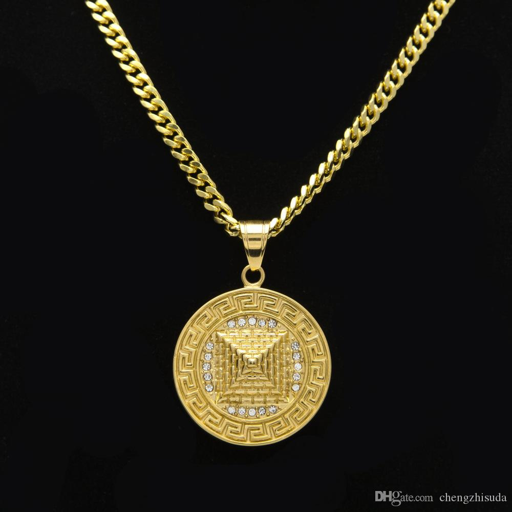 Wholesale men egyptian pyramid pendant charm necklace iced out wholesale men egyptian pyramid pendant charm necklace iced out gold plated stainless steel necklace chain womenmen hip hop jewelry silver charms rose aloadofball Choice Image