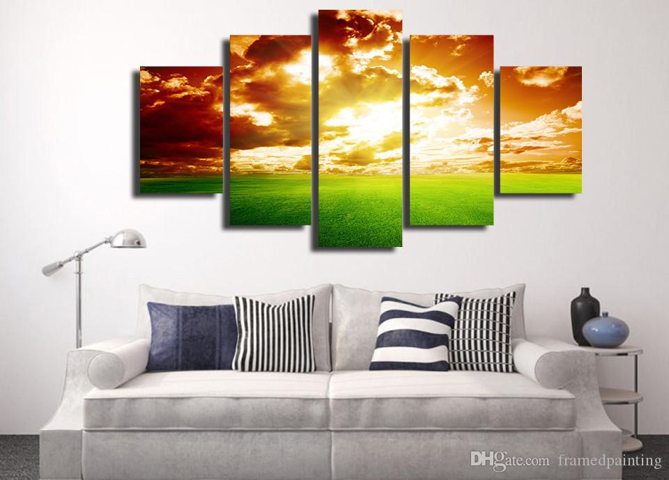 Framed HD Printed Sunset Nature Landscape Sky Picture Wall Art Canvas Print Decor Poster Canvas Oil Painting