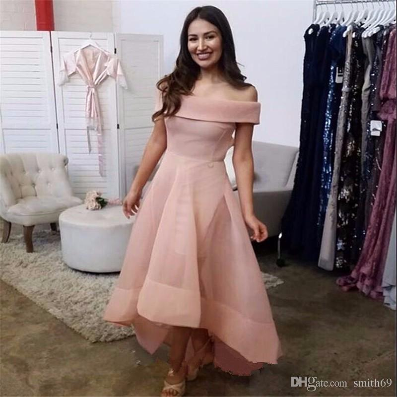 High Low Evening Dress 2017 Light Pink Simple Boat Neck Sexy ...
