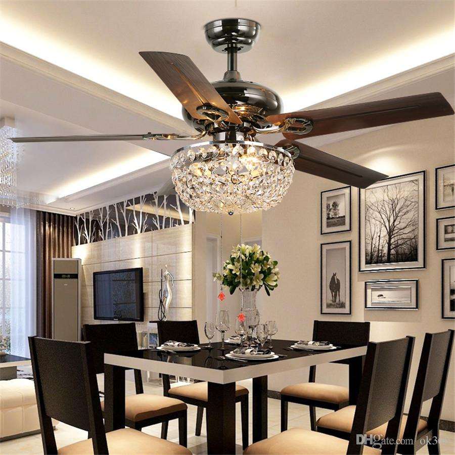 2018 crystal ceiling fan wood leaf antique fan light fan chandelier with remote control dining. Black Bedroom Furniture Sets. Home Design Ideas