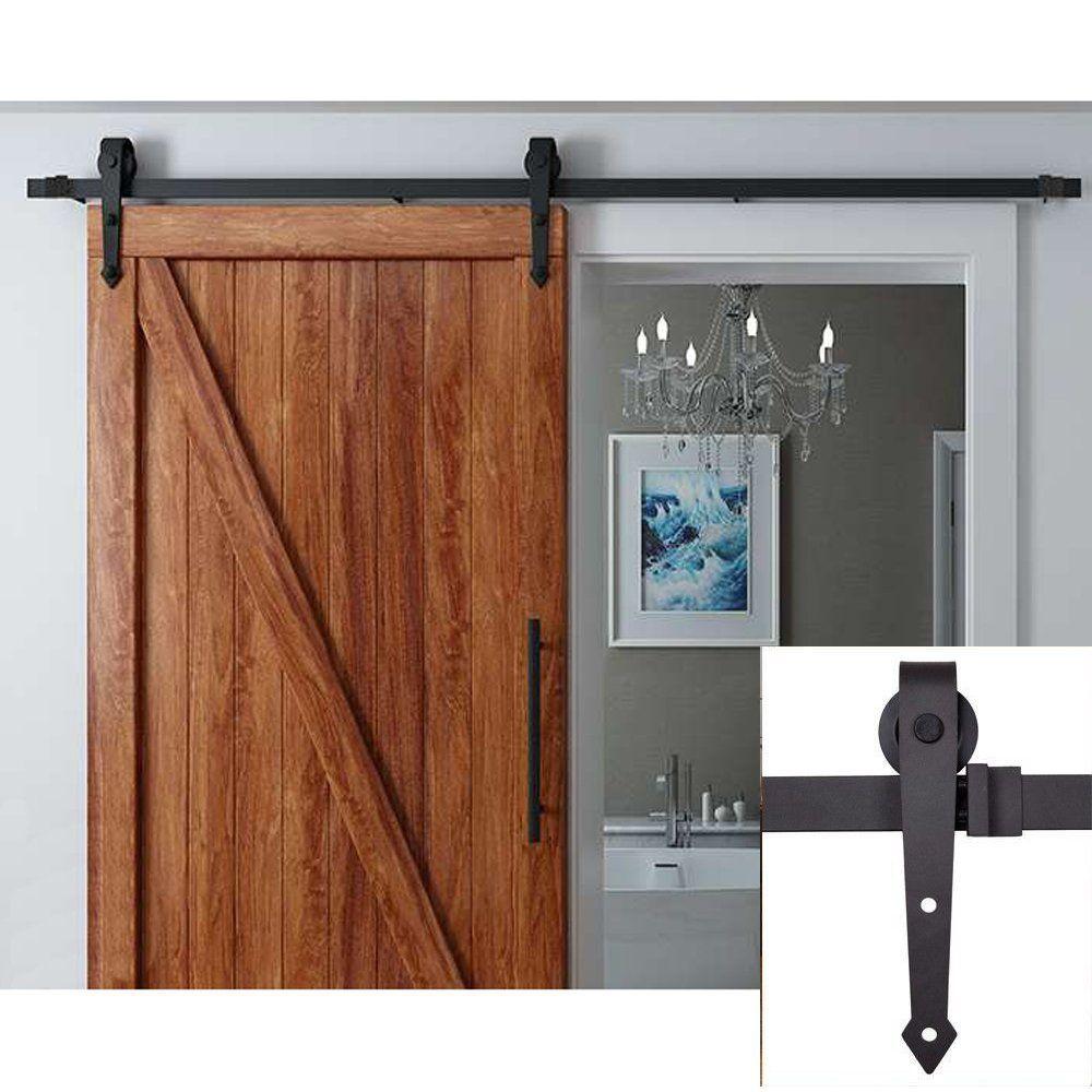 12ft Single Door Kit Black Bending Design Sliding Roller Barn Single