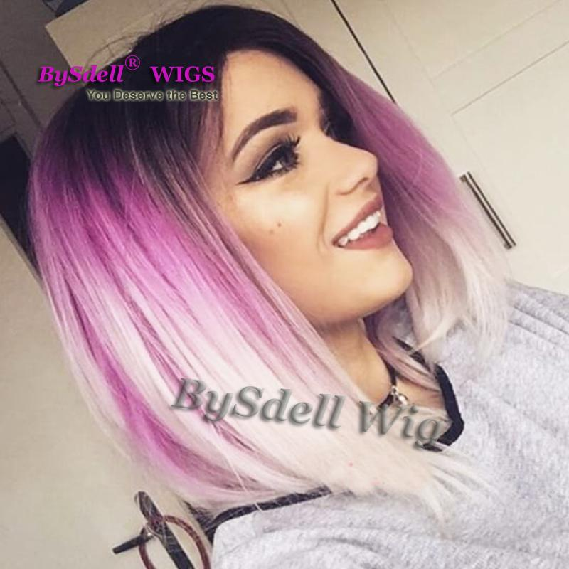 35ebbce4422 Black Root Ombre Lilac To White Color Hair Wig Synthetic Short Mermaid  Straight Hair None Lace Wig  Lace Front Wigs For Beauty Lady Henry Margu  Wigs ...