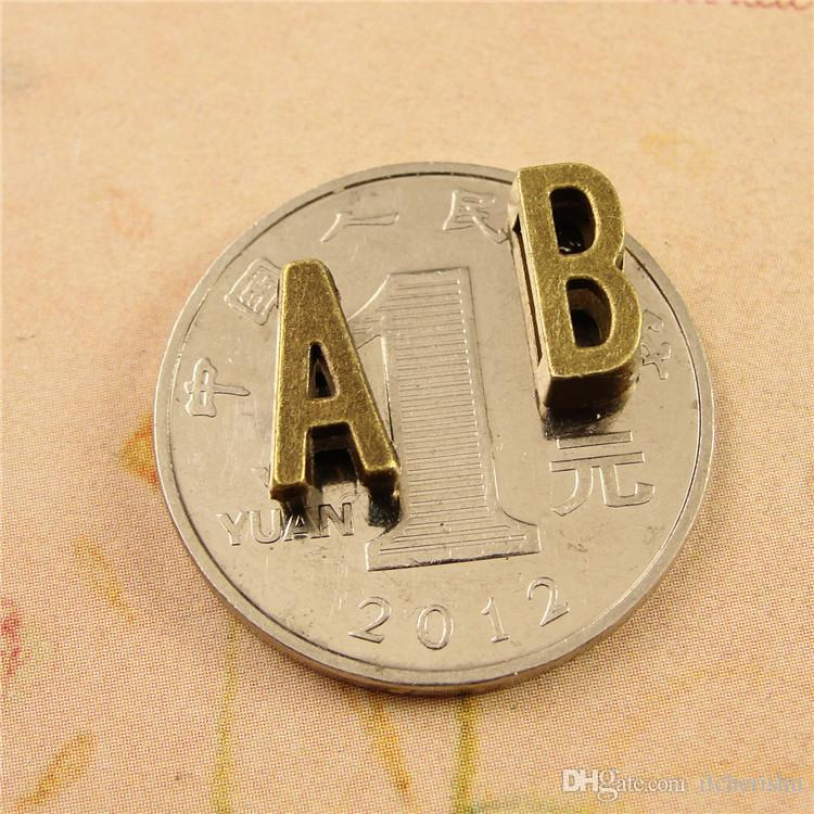 DIY jewelry accessories bronze retro alloy 26 small letters beads in English alphabet charms, slider slide initial charm for bracelet making