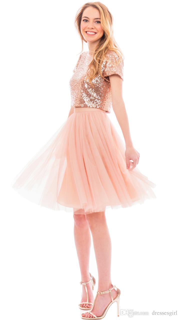 Hög kvalitet en linje kort brudtärna klänningar sparkigt sequined jewel knä längd vackra bröllop gästformella klänningar med två stycken