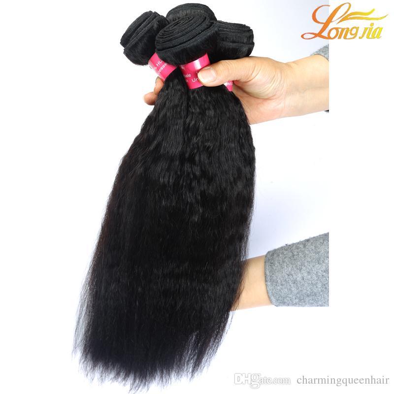 8a 100% Não Transformados virgem Brasileira Humano kinky reta weave yaki cabelo tece produtos de cabelo Longjia premium novo cabelo tece 3 pacotes