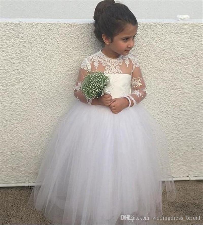 2019 симпатичные пухлые девушки Pageant платья для малышей длинные младшие платья невесты Jewel кружева аппликации Sheer длинными рукавами девушки цветка платье