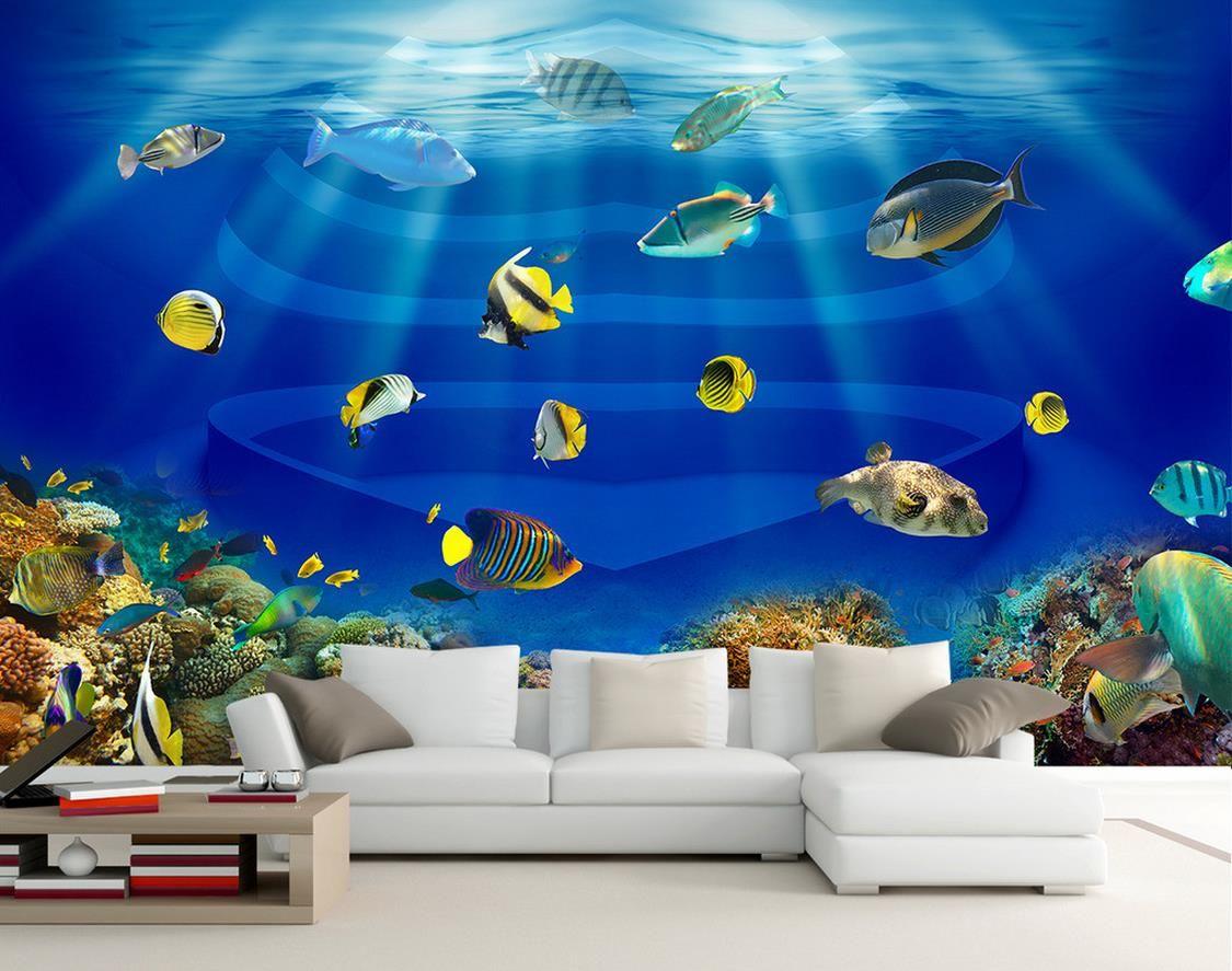 Ocean World Heart Shaped Fish Tank Tropical Fish 3d Stereo Tv Mural 3d Wallpaper 3d Wall Papers For Tv Backdrop Wallpaper Hd In Desktop Wallpaper Hd Photos From Yiwuwallpaper 5 98 Dhgate Com