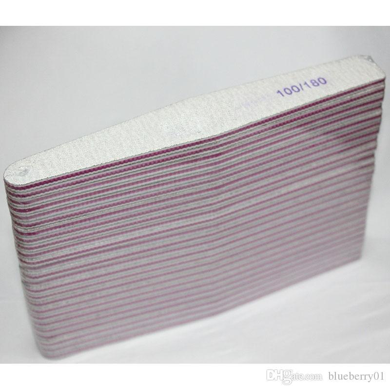 Nail Dosyalar Zımpara 100/180 Eğrisi Muz için Nail Art İpuçları Tampon Tırnak Dosya Manikür Araçları 5 Stiller Rastgele