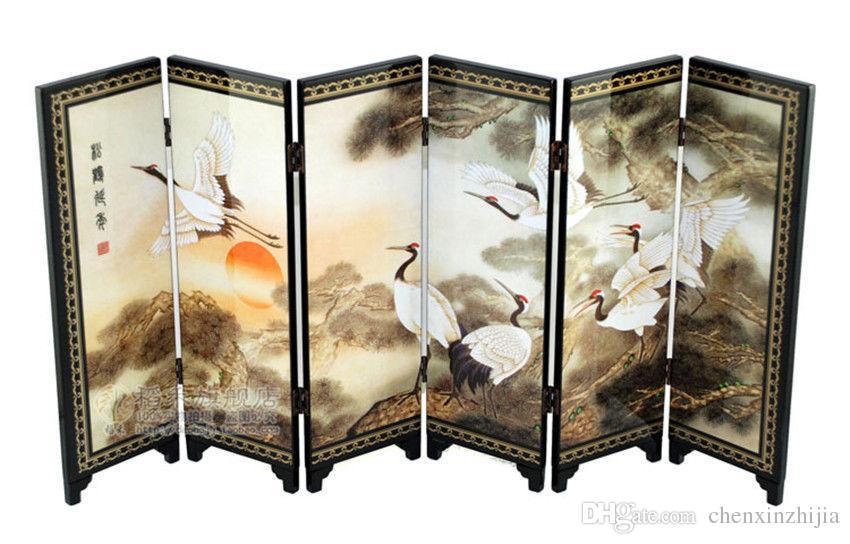 Laca chinesa pintura bela tela dobrável Songhe padrão