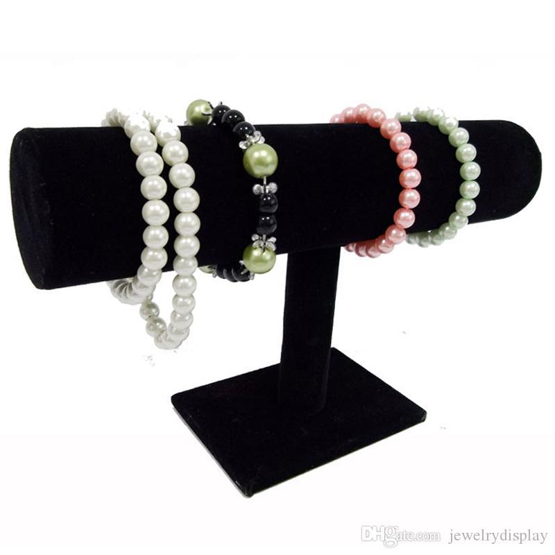 Frete Grátis Expositores de Veludo Preto Moda Jóias Display Stand Titular para Pulseiras Bangle Watch Chains Pendurado T bar Rack