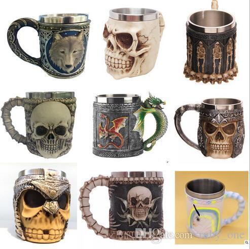 Creative 3d Skull Wolf Mug Funny Coffee Cups Cool Resin
