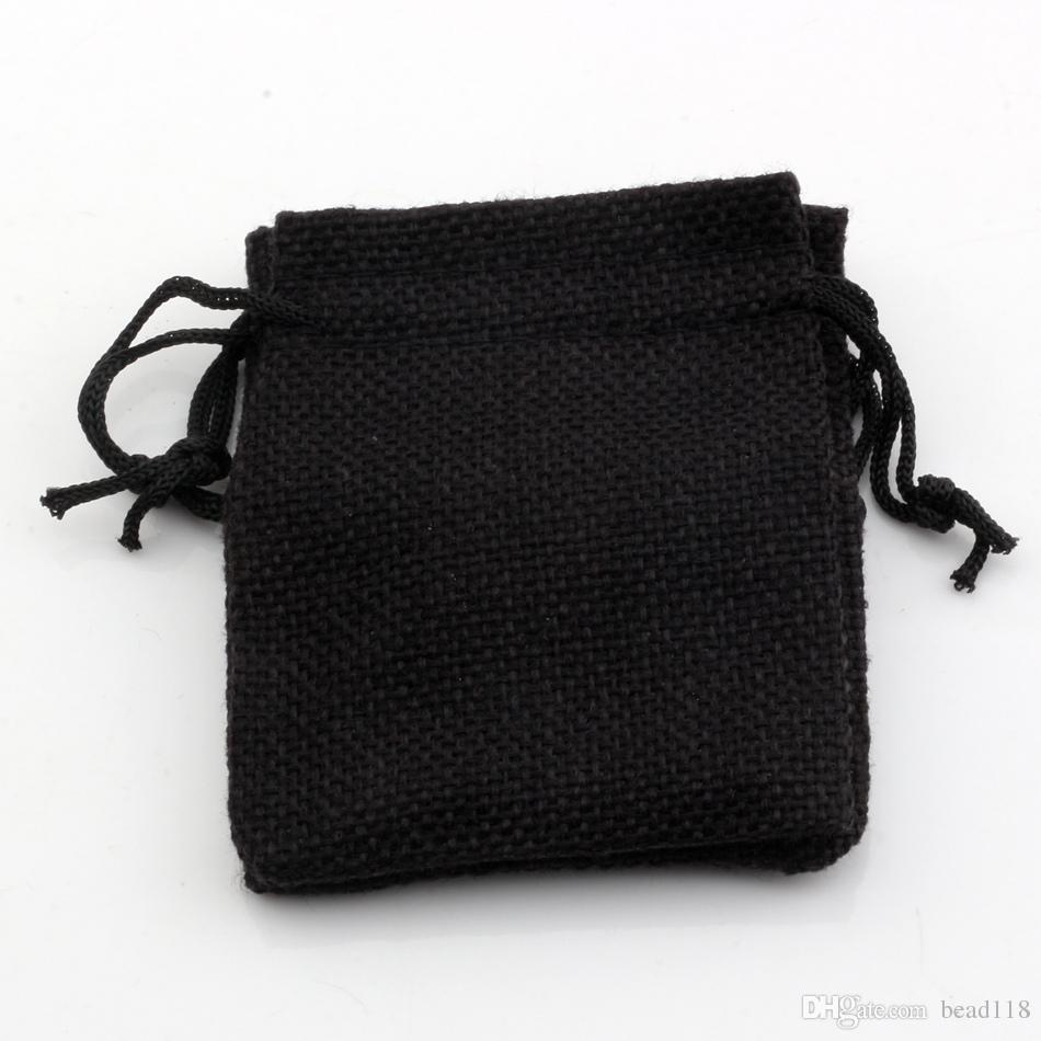Quente! Tecido De Linho preto Sacos De Cordão de Doces de Presente Da Jóia Bolsas de Serapilheira Presente sacos de Juta 7x9 cm