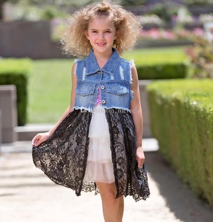 0947e50a0 INS Girls denim lace Dress jacket girl lace cowboy jackets top button jean  coats denim jackets denim coat outerwear 2-7years free shipping