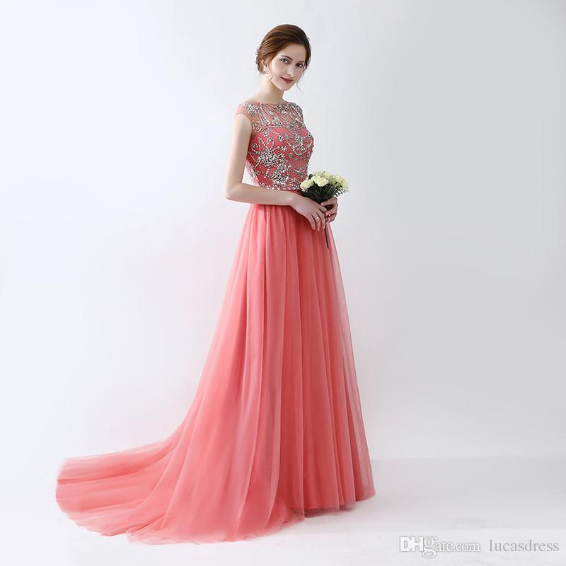 Sparkle Charming Style Zipper Evening Long Dresses With Beaded Beading Sequin Pleats Prom Gowns