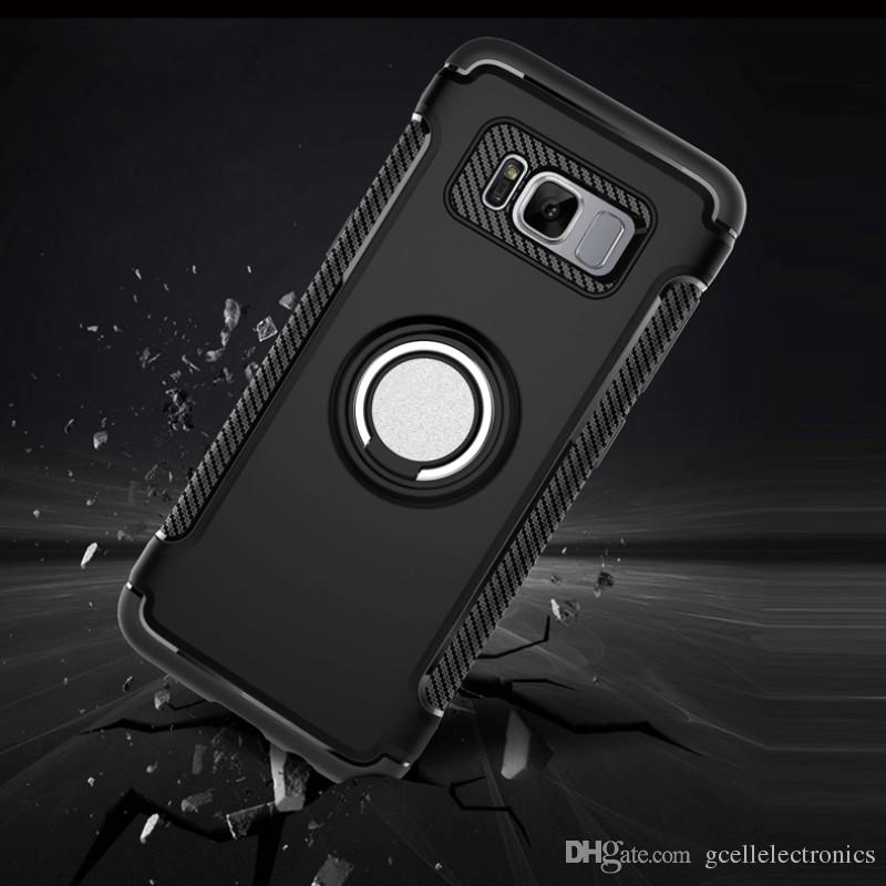 Magnetic Hybrid Armor Cell Phone Cases For Samsung Galaxy Note 20 Ultra S20 Iphone 11 Pro Redmi Note 8 360 Ring Holder Case