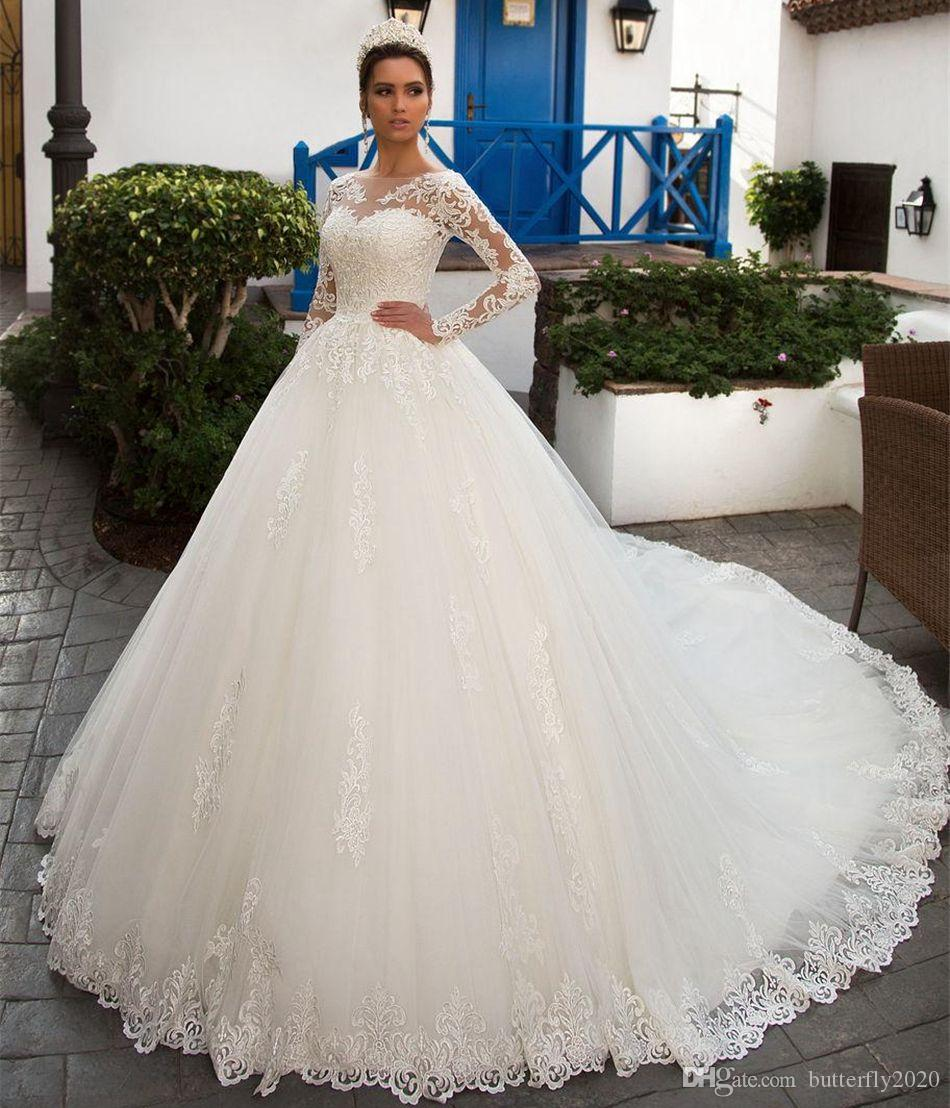 Elegant Long Sleeve Lace Wedding Dresses Appliques Long Train Plus ...