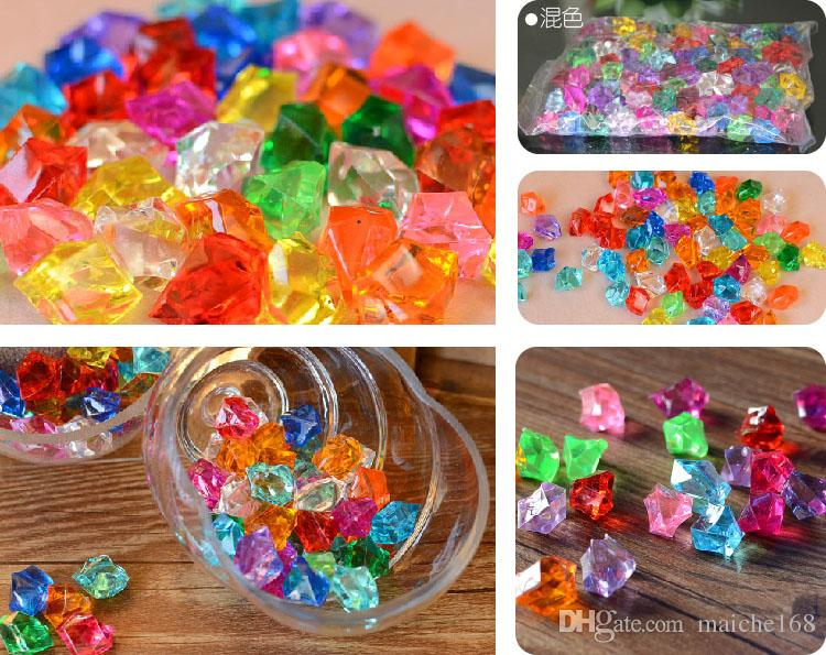/Pack Acrylic crystal beads plastic color stone simulation ice tank aquarium water culture green plant decoration particles