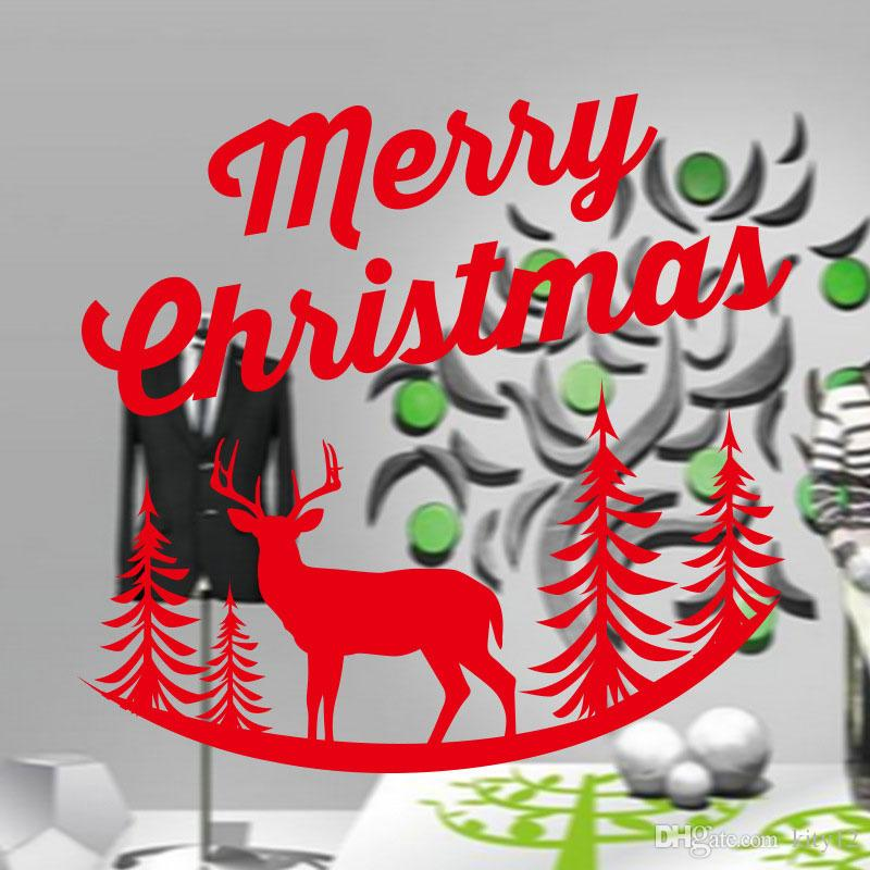 Window elk Stickers for Merry Christmas Decoration Wall Stickers Xmas Home Decoration Window Display Removable Wallpaper