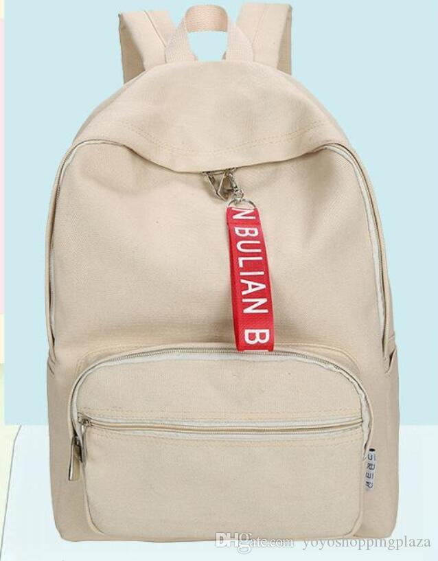 Luxury Backpacks Canvas Korean Fashion Women Girl Special Solid Beige Blue School Bag College Book Bags Laptop Travel From