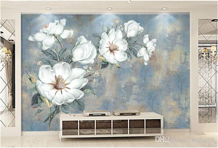 Papel de parede de flores personalizado 3D, retro rosa murais para a sala de estar quarto de tv fundo de parede impermeável papel de parecer