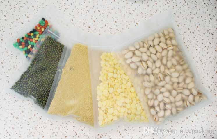 frosted plastic bag flat bottom Ziplock design Packaging Bag for nuts, tea, rice, corn, cookie etc 9 size in total, free shipipng
