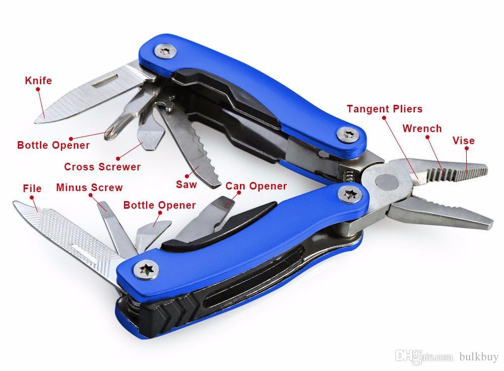 AA3 9 في 1 طوي سكين متعدد الوظائف ذو طيات المحمولة بقاء الفولاذ المقاوم للصدأ أدوات يدوية زجاجة وجع كماشة الملفات