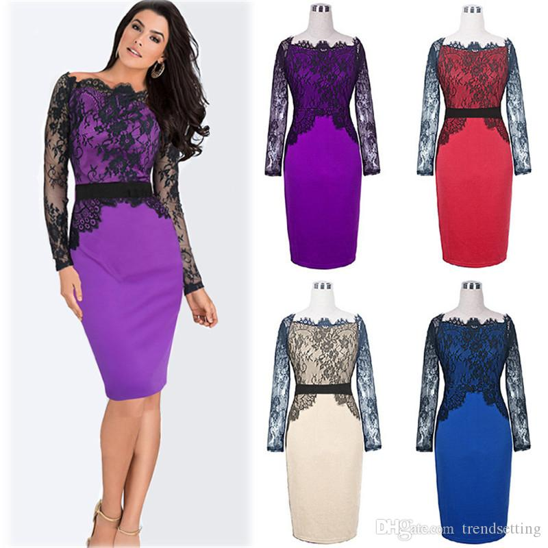 4014f13ea5 2019 Women Lace Off Shoulder Party Dress Sexy Patchwork Women S Dress Long  Sleeve Cocktail Dress For Fat Women WD013 From Trendsetting