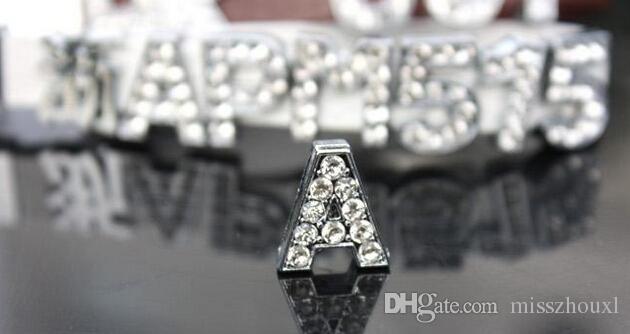 Envío gratis 2600 unids / lote 10mm A-Z Full Rhinestone diapositivas letras Fit Collar de Mascota Wristband