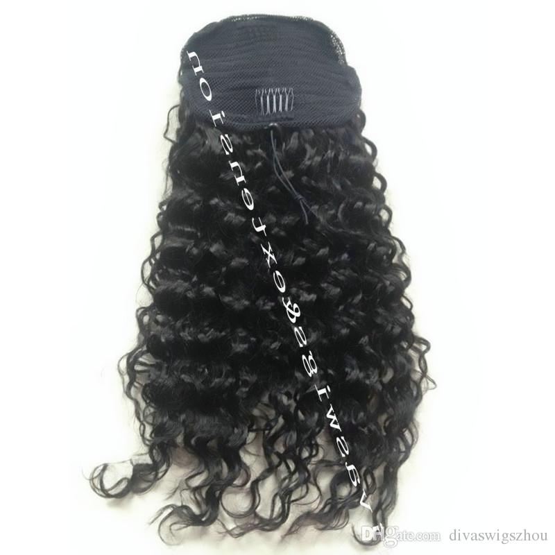 человеческие волосы хвост шиньоны клип в высокой кудрявый вьющиеся человеческие волосы 140 г шнурок хвост наращивание волос для черных женщин