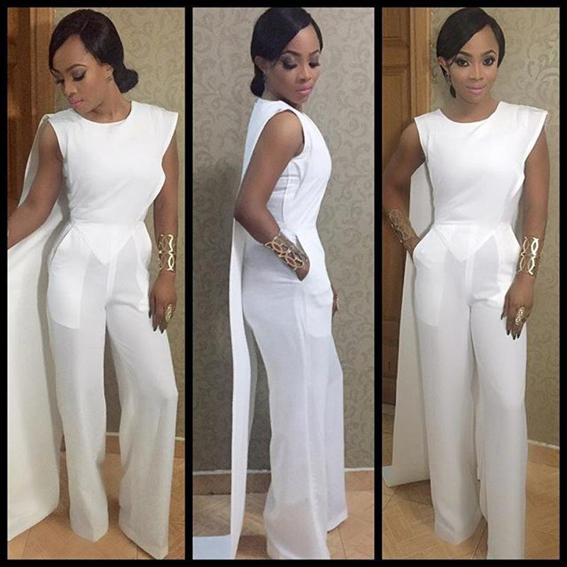 877ce830519 2019 Womens Rompers Jumpsuit 2016 Hot Lady White Sleeveless O Neck Cape One  Piece Jumpsuit Fashion Elegant Club Party Overalls S XL From Aa313093544