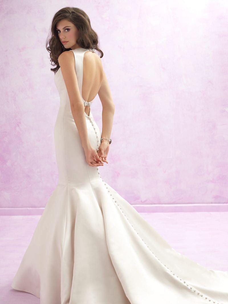 Haute Couture V Neck Duchess Satin Mermaid Wedding Dress Double ...