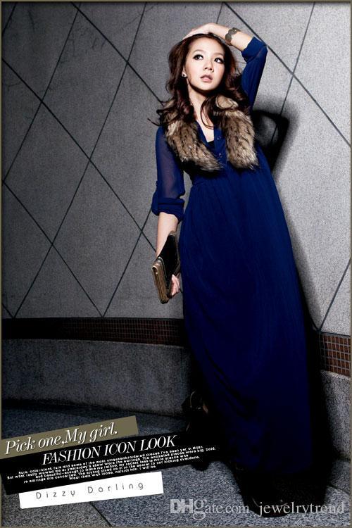 Sıcak Bahar Sonbahar Bayan Uzun Elbise Düğmeleri Uzun Kollu Zarif Akşam Parti lady Casual Şifon Maxi Elbise Mavi