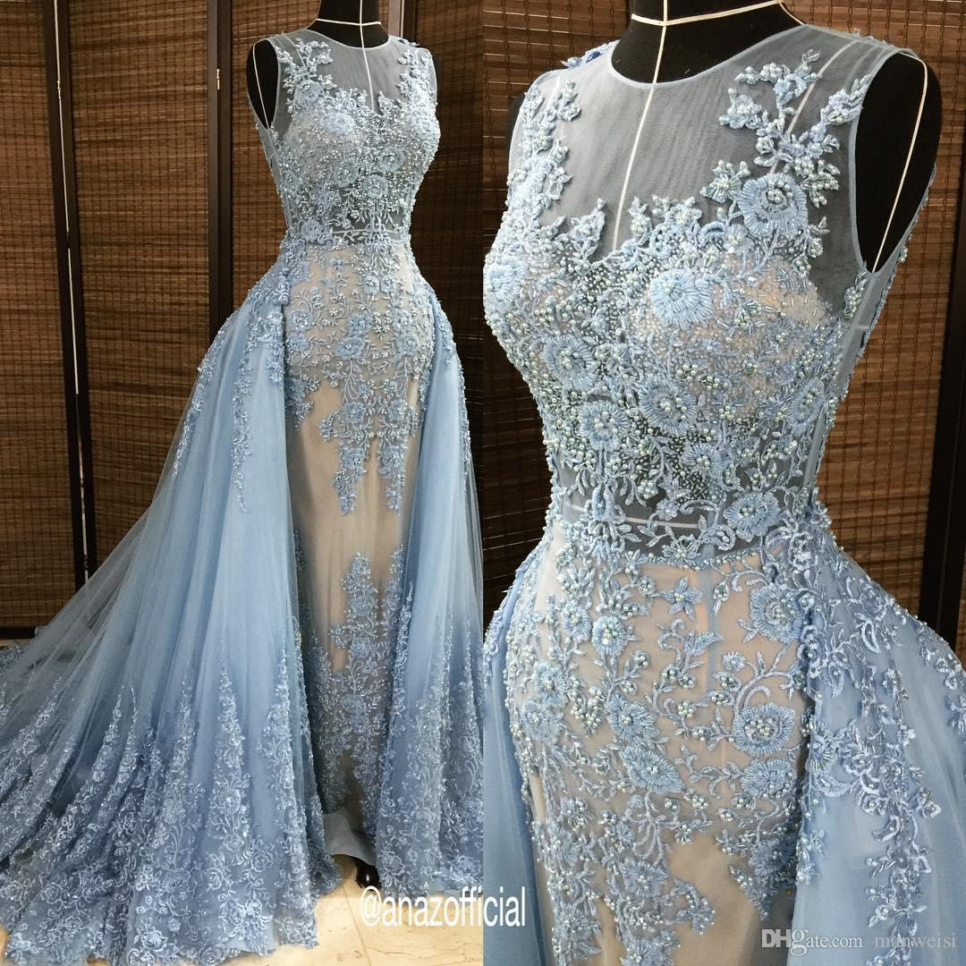 Luxury Beads Prom Dresses With Detachable Train Lace Applique ...