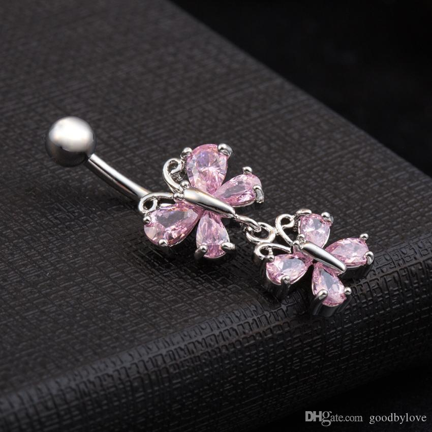 White Gold Plated Top Quality Cubic Zirconia Double Cute Butterflies Piercing Navel Ring Fashion Body Jewelry for Women