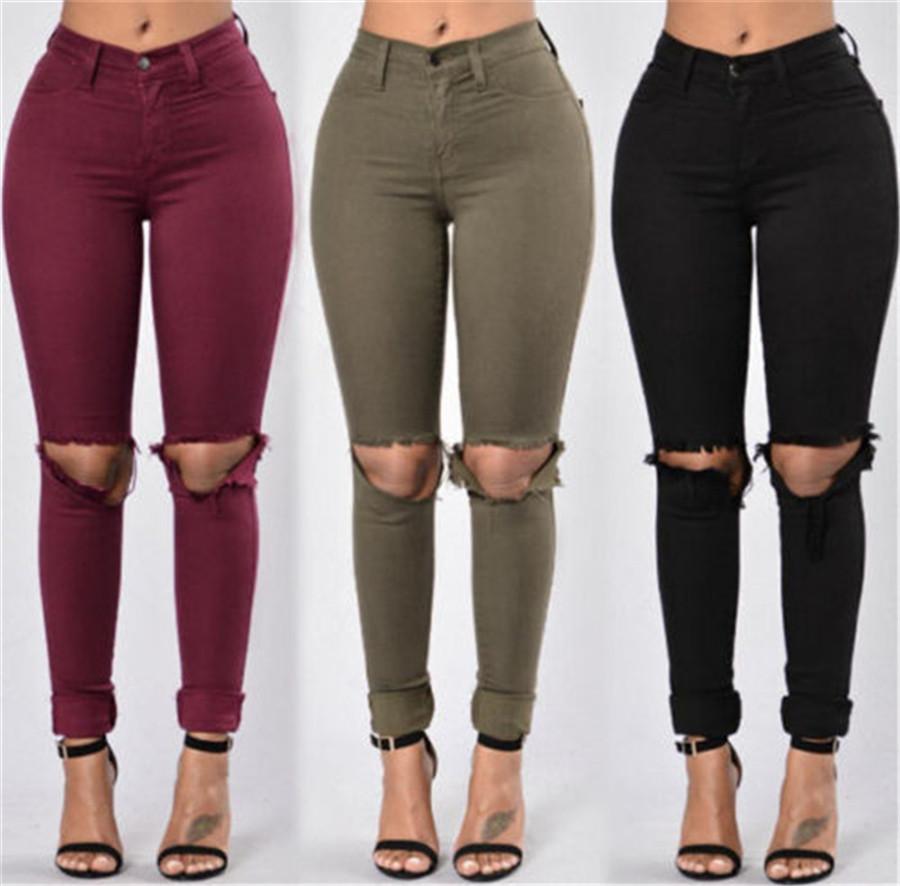 f64526c7c660c Compre Al Por Mayor Ejército Rojo Verde Negro Mujer Lápiz Pantalones  Vaqueros Elásticos Mujer Ripped Denim Skinny Jeans Pantalones Pantalones  Vaqueros De ...